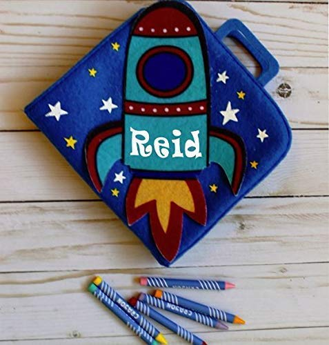 Rocket Ship Activity Book Personalized Coloring Set for Boy from Cynthia's Gift Boutique