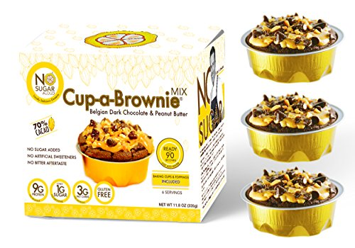 Chocolate Organic Brownie (No Sugar Aloud Dark Belgian Chocolate and Organic Peanut Butter Cup-a-Brownie Mix (No sugar added, gluten free, dairy free, egg free, keto, Vegan, Diabetic friendly) 11.8 0Z (Makes 6 cups))