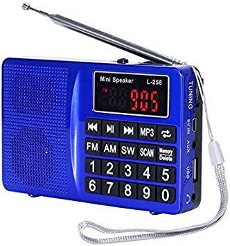Portable Pocket Radio Handheld AM FM SW Digital MP3 Player Rechargeable USB CAN