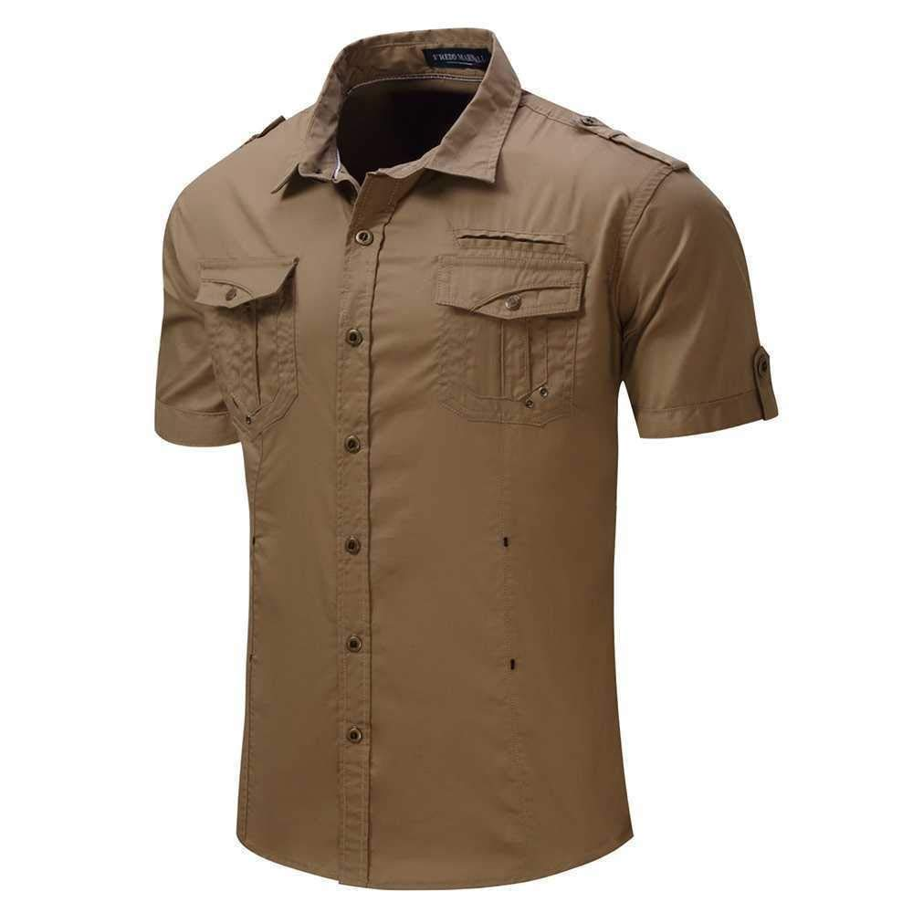 Men Lapel Button Solid Color Pocket Cargo Army Style Military Summer Short Sleeve Cotton Shirt Top