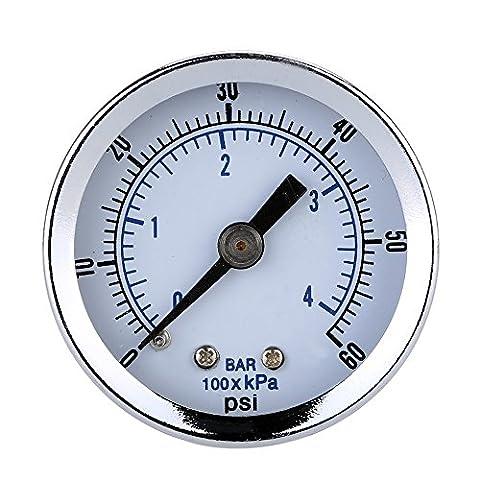 MagiDeal 0-60psi 0-4bar Pressure Gauge Manometer for Water Air Oil Dial (2 Linea)