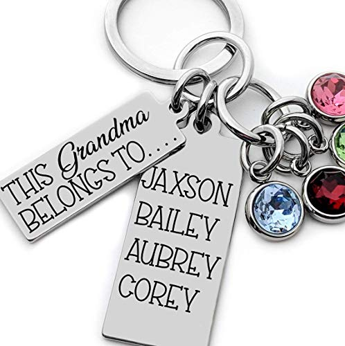 Birthstone Keychains Grandma Gift with grand kids names and birthstones Personalized Engraved Stainless Steel