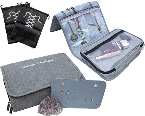 Travel Jewelry Organizer Carrying Case - PLUS Shoe Bags. Hanging Holder and Storage For Accessories by Endlessly Wanderlust (Image #5)