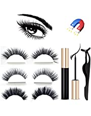Magnetic Eyeliner and Magnetic Eyelash Kit, 2019 Update Version Magnetic Liquid Eyeliner Waterproof With FREE Tweezer For Use With Magnetic False Lashes (3 Pair 3D Eyelashes Natural and Dramatic)