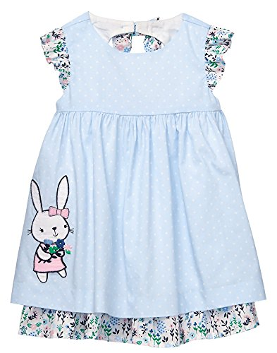 Gymboree Baby Girls Sleveless Bunny Dot Dress, Light Sky, 18-24 Mo