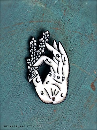 - Palmistry Palm Reading Hand Fortune Teller Button Occult Pin Gypsy Witchcraft Lavender Spells