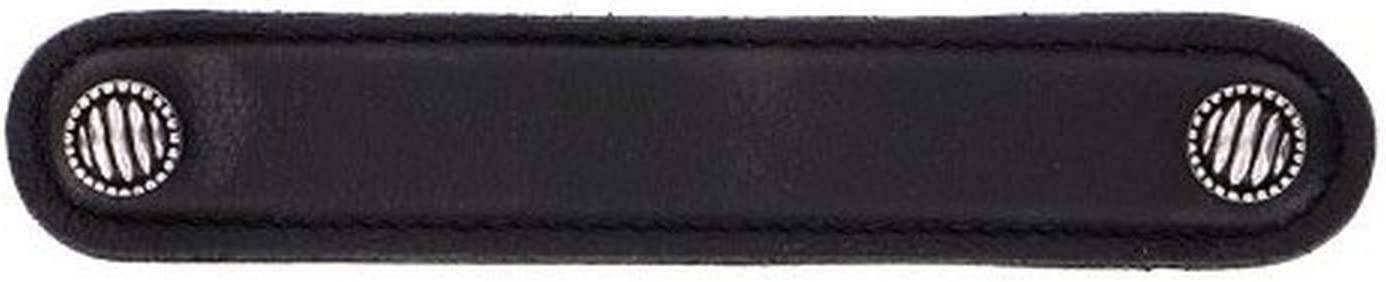 Vicenza Designs K1170 Sanzio Lines And Dots Leather Pull Black 5 Inch Vintage Pewter Pulls Hardware