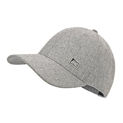 JHC Curved Bill Wool Baseball Cap Snapback Cap For Men (Light Grey) (Grey Wool Hat)