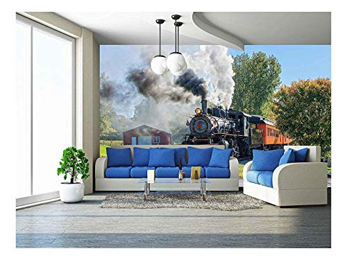 Train Mural - wall26 - Old Vintage Steam Engine Arriving At The Train Depot - Removable Wall Mural   Self-adhesive Large Wallpaper - 66x96 inches