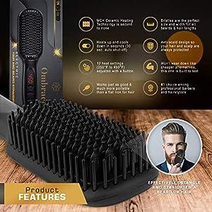 Ionic Beard Straightener Brush, Heated Hair Straightener Comb For Men & Woman, Detangling Volumizing – Rapid Heating, Auto Safety Shut Off, Ceramic Anti-Scald Bristles For Hair & Beard Straightening