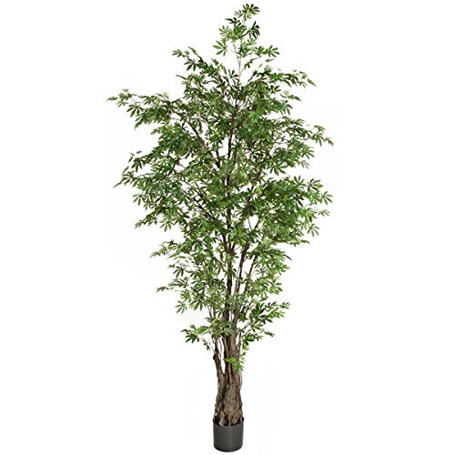 7' Japanese Maple Silk Tree w/Pot -Green by SilksAreForever