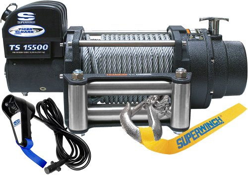 - Superwinch 1515200 Tiger Shark 15.5, 12 VDC winch, 15,500 lb/7,031 kg capacity with roller fairlead