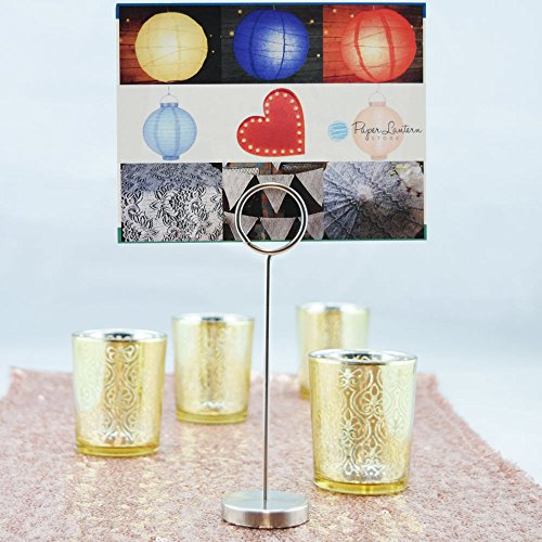 Quasimoon PaperLanternStore.com Solid Stainless Steel Metal Name Table Place Card Holder Stand - 6 Inch