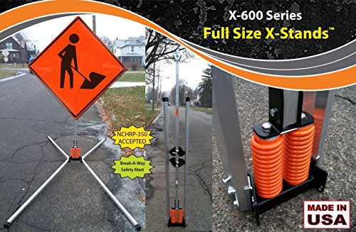 Mast Systems (USA-Sign X-602-TP X-600 Series Aluminum Coil-Spring Wind-Deflectable Full Size X-Stand, Aluminum Legs and Full-Mast, T-Pin Leg-Release System, 2 Rigid Sign Holder)