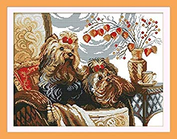 Animals Dog D032 Panda Dogs, Size 16x13 Happy Forever Cross Stitch Kits 11CT Stamped Patterns for Kids and Adults Preprinted Embroidery kit for Beginner