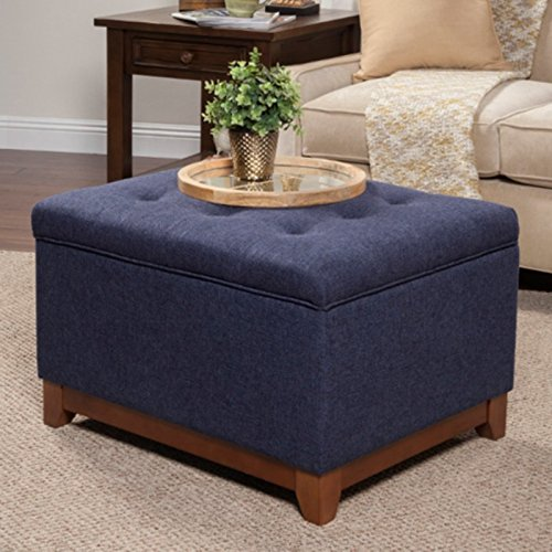 age Ottoman, Wood Base with Honey Oak Finish, Deep Button Tufting and Hinged Lid for Stability when Lifting, Spot Clean Fabric + Expert Guide ()