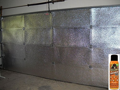 NASATECH (Pre-cut 16 Panel) 2 Car Garage Door Reflective Insulation Kit (R8) 1/4 thick w/ New And Improved Super Heavy Duty Gorilla Glue Adhesive Fits 16x7 16x8 Garage (Two Car Garage Doors)