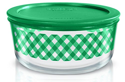 Pyrex 1127641 4 cup Storage Dish Checker Plaid Color: Green