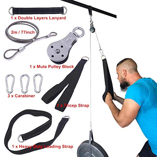 PJR Cable Machine Rope D-Handle Cable Pully Optional for Gym Fitness Equipment Weight Lifting Workout Accessories, shows