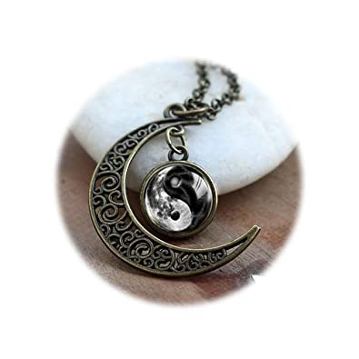 Media Luna Luna Collar de Yin Yang, espiritual regalo Yoga ...