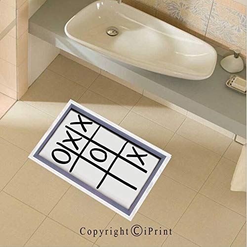 (Removable DIY Floor Stickers Decor Tic Tac Toe Pattern Unfinished Game Hobby Theme Alphabet Minimalist Artful Image for Home Walls Floor Ceiling Kids Nursery Room Boy Girls Bedroom Bathroom Living)