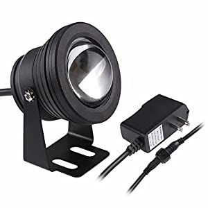 Lemonbest® 10w Warm White LED Underwater Light Spotlight Flood Lamp for Fountain Pond Garden Pool Landscape Outdoor Ac 85-265v Us Plug Black Housing
