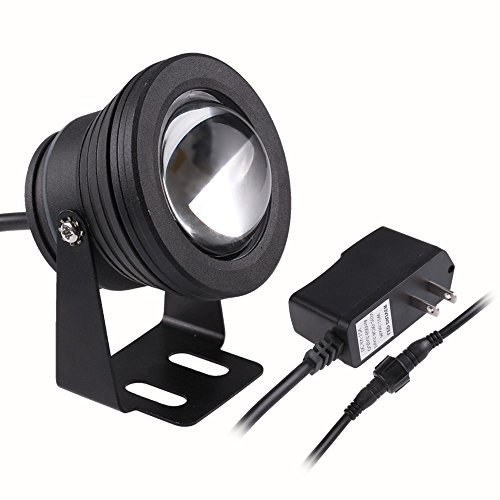 LemonBest 10w Warm White LED Underwater Light Spotlight Flood Lamp for Fountain Pond Garden Pool Landscape Outdoor Ac 85-265v Us Plug Black Housing