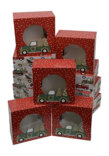 (Christmas Cookie gift boxes, fold-able with holiday designs, set of 12 boxes (Trees in a)