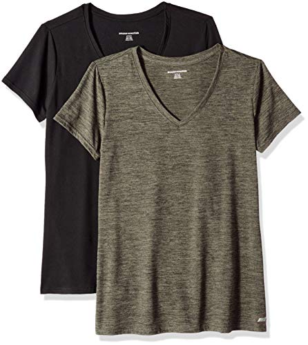 Basic Fit Tee - Amazon Essentials Women's 2-Pack Tech Stretch Short-Sleeve V-Neck T-Shirt, Olive Space dye/Black, Medium