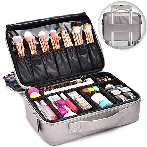 Joligrace Professional Makeup Bag Organizer 15 Inch Cosmetic Case 3 Layer Beauty Artist Storage Brush Box with Shoulder Strap PU Leather Designed for Home Travel or Studio Silver Tone