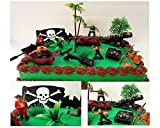 """: Ahoy, Matey PIRATES 15 Piece Cake Topper Set Featuring 5 Random Figures, Boat, Cannon, Themed Decorative Accessories, Figures Average 2"""" Tall"""