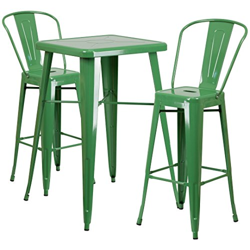 MFO 23.75'' Square Green Metal Indoor-Outdoor Bar Table Set with 2 Barstools with Backs