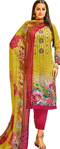Exotic India Dusty-Citron Printed Trouser-Salwar Kameez Suit With Embro - Yellow Size Medium (Kameez Trouser)
