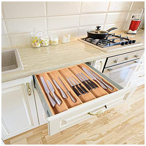 Kitchen InnoStrive Bamboo Drawer Organizer Silverware Utensil Tray Drawer Organizer Expandable Kitchen Drawer Organizer for… silverware organizers