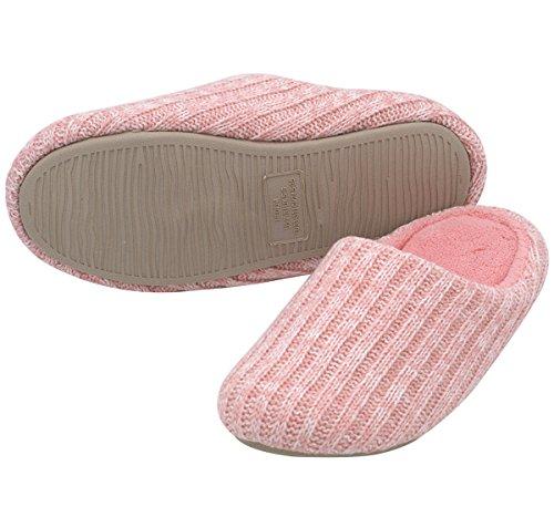 Homeideas Dames Kasjmier Katoen Gebreide Antislip Huis Slippers, Lente Zomer Ademende Indoor Schoenen Roze