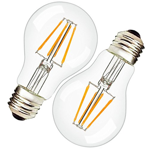 Vintage Edison LED Bulb, Dimmable 4W Antique LED Bulb Squirrel Cage Filament Light For Decorate Home, E26 (E26-4W-A19 Bulb) ()