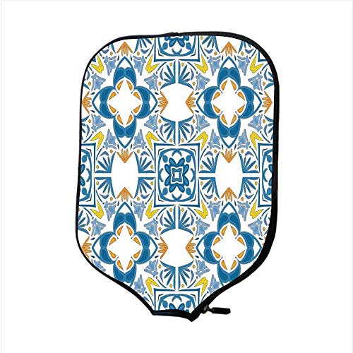 Authentic Outrigger Canoe Paddle - Neoprene Pickleball Paddle Racket Cover Case,Traditional House Decor,Tunisian Mosaic with Azulojo Spanish Influence Authentic Arabesque Inspired Artwork,Blue,Fit For Most Rackets - Protect Your Paddle