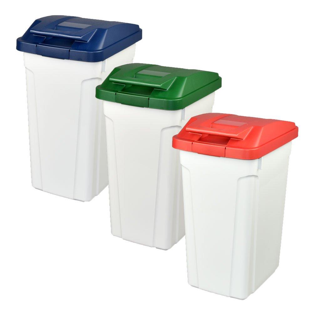 ASVEL ハンドルペール 35L 3個セット ゴミ箱 ごみ箱 ダストボックス おしゃれ ふた付き アスベル (ブルー×グリーン×レッド) B0747BK29Xブルー×グリーン×レッド