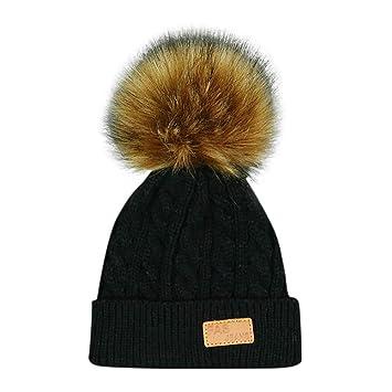 fc9c67bf3 Amazon.com : Kids Winter Knitted Faux Fur Pom Pom Cap Toddler Boys ...