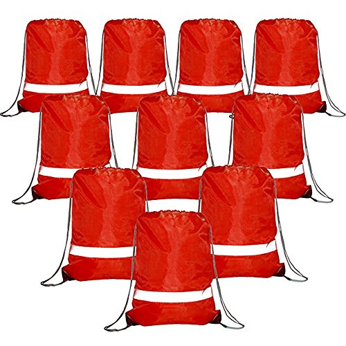 Red Drawstring Backpack Bags Reflective 10 Pack, Promotional Sport Gym Sack Cinch Bag (Red) -