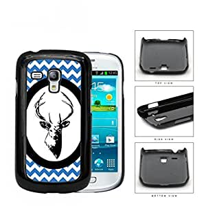 Blue White Chevron Pattern with Deer Antler in White Center Oval Circle Samsung i8190 Galaxy S3 (MINI) Hard Snap on Plastic Cell Phone Case Cover WANGJING JINDA