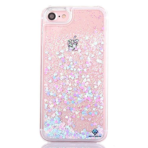 e 6 case, Myckuu Liquid, Cool Quicksand Moving Stars Bling Glitter Floating Dynamic Flowing Case Liquid Cover for Iphone 6 (bear+pink) ()