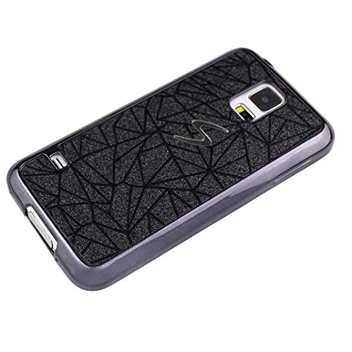 Galaxy S5 Fundas 5.1 pulgadas, Galaxy S5 Carcasa Silicona, Galaxy S5 Neo Bling Cristal Back Case Cover, Moon mood® TPU Silicona Trasero Caso Cubierta Galaxy S5 SV I9600 S5 Neo Resistente a las Rayadur Negro-1