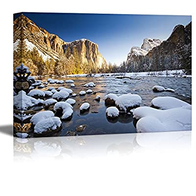 Beautiful Scenery Landscape Yosemite National Park in Winter Valley View at Sunrise - Canvas Art Wall Art - 32
