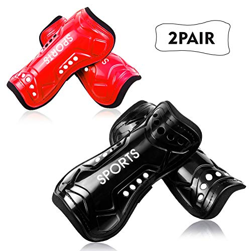 Youth Soccer Shin Guards, 2 Pair Lightweight and Breathable Child Calf Protective Gear Soccer Equipment for 3-10 Years Old Boys Girls Children Teenagers(Red) ()