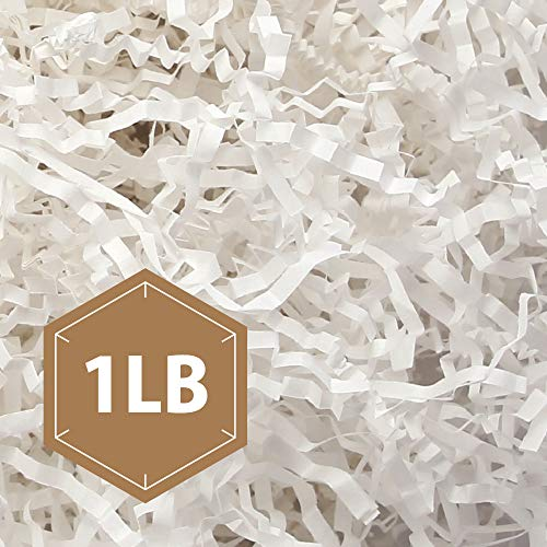 - PACKHOME 1 LB Crinkle Cut Paper Shredded Paper Shred Filler, Premium Quality for Gift Packing and Baskets Filling (Snow White)