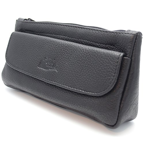 Pipe Tobacco Leather Pouch Combo - Authentic Full Grade Leather - (Tobacco Pouch Black Leather)