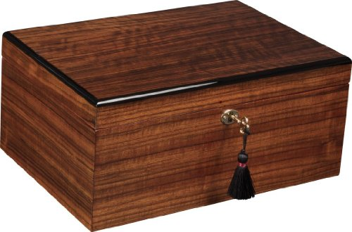 Savoy Large African Teak Humidor - Holds 100 Cigars