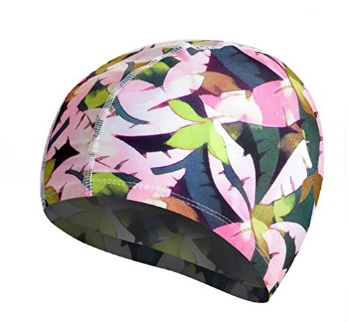 Ewandastore Solid Color Lycra Swim Caps for Long Hair Pleated Cloth Swimming Cap Bathing Hat for Adult Men and Women(Bright Flower)