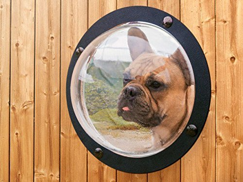 Dog Fence Window SUALER Pet Fence Bubble Large Size - 11.8 inches in Diameter for Dog & Cat See Outside Relieve Anxiety Reduced Barking (Large Fence Dog Outside For)